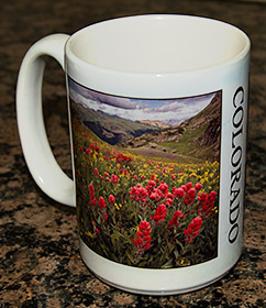 Coffee cup with photos of Colorado.