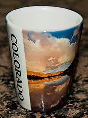 Shot glass with images of Colorado.