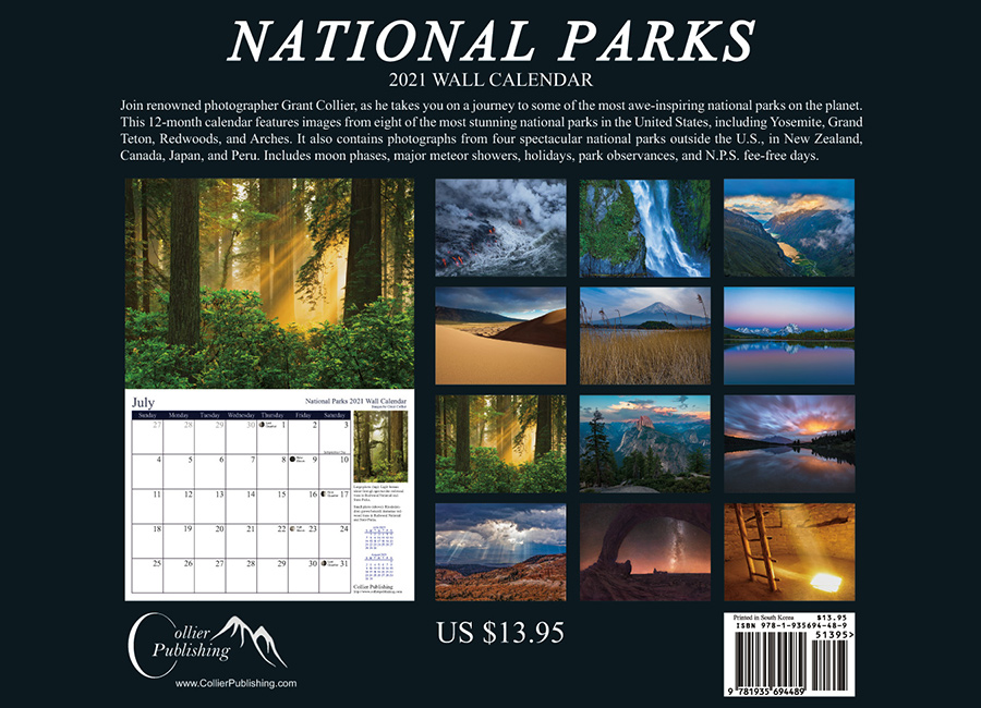 National Parks Calendar, Back Cover